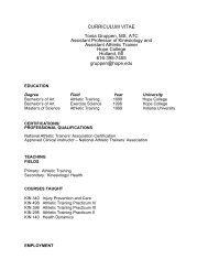CURRICULUM VITAE Tonia Gruppen, MS, ATC ... - Hope College