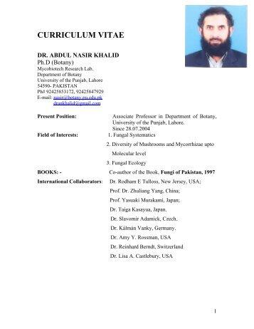 curriculum vitae dr. abdul nasir khalid - University of the Punjab