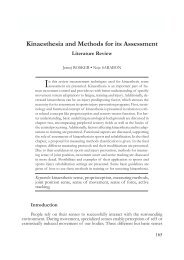 Kinaesthesia and Methods for its Assessment - SPORT SCIENCE ...