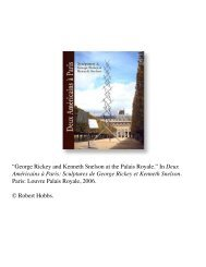 George Rickey and Kenneth Snelson at the Palais ... - Robert Hobbs