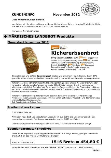 Kundeninfo November 2012 - Märkisches Landbrot