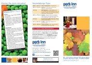 Kulinarischer Kalender - Park Inn Belfortstraße