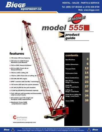 Manitowoc 555 Crane Chart