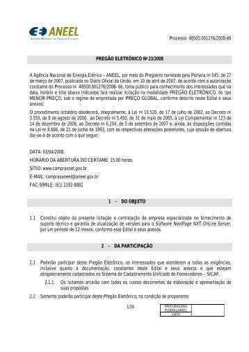 PREGÃO ELETRÔNICO No /2007 - Aneel