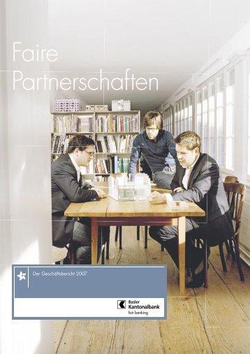 Faire Partnerschaften - Basler Kantonalbank