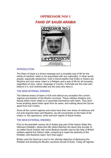 OPPRESSOR NO# 1 FAHD OF SAUDI ARABIA - Islamic Truth