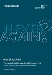 Never again? The story of the Health and Social ... - The King's Fund