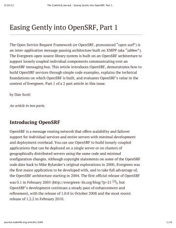 Easing Gently into OpenSRF, Part 1