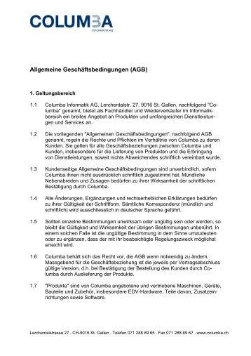 AGB - Columba Informatik AG, St. Gallen