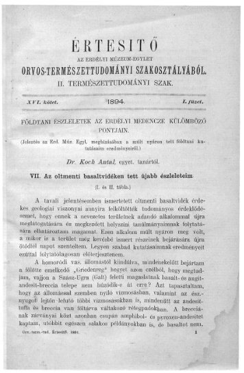 Földtani észleletek az erdélyi medencze különböző pontjain VII - EPA