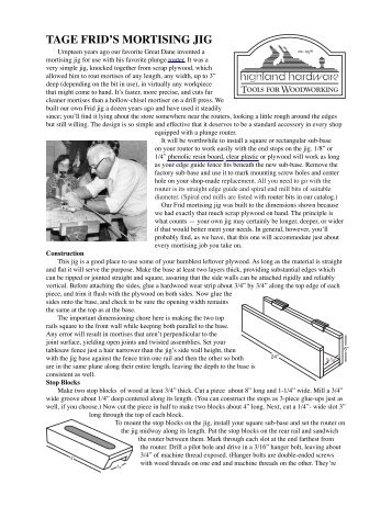 Frid mortise jig (ID) - Highland Woodworking