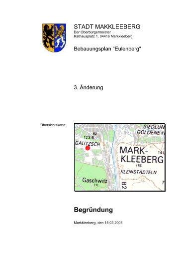 Begründung zum Satzungsexemplar - Stadt Markkleeberg