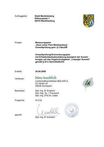 Keesscher Park_Umweltbericht zur Satzung - Stadt Markkleeberg