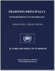 Tradition : Principally with Reference to Mythology and the
