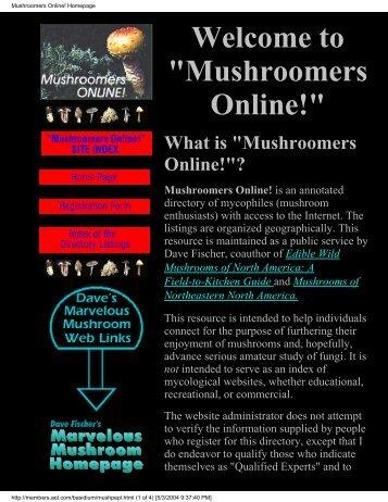 Mushroomers Online! Homepage - ZetaTalk