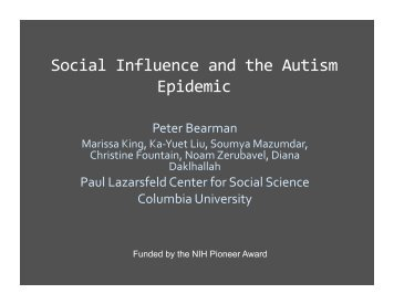 Social Influence and the Autism Epidemic - Roybal Center for the ...
