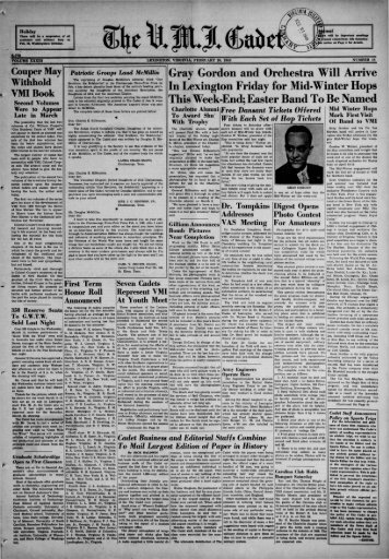 The Cadet. VMI Newspaper. February 20, 1940 - New Page 1 ...