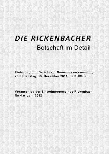 Finanz - Gemeinde Rickenbach