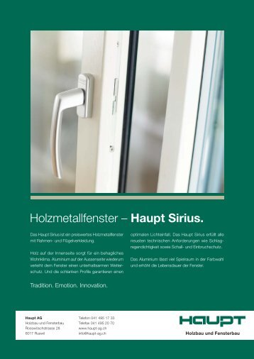 Holzmetallfenster – Haupt Sirius. - Haupt AG