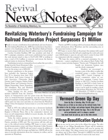 RW newsletter Spring05.indd - Revitalizing Waterbury