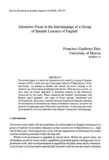 Cantabrian Spanish Intonation Grup D 39 Estudis De Pros Dia