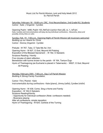 Music List for Parish Mission, Lent and Holy - Saint Patrick Parish