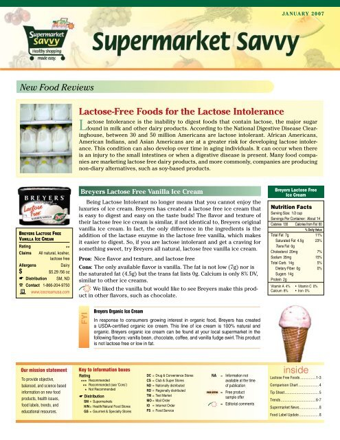 Foods for the Lactose Intolerance