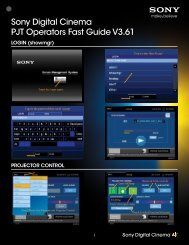 Sony Digital Cinema PJT Operators Fast Guide V3.61