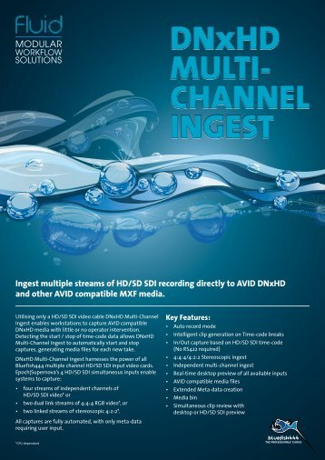 CHANNEL INGEST DNxHD MULTI- CHANNEL INGEST - BlueFish444