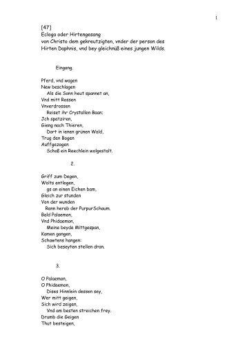 Ecloga oder Hirtengesang 47 - Lyrikschadchen