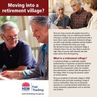 Moving into a retirement village (PDF size: 243kb - NSW Fair Trading