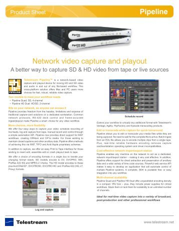 Network video capture and playout Pipeline - Telestream
