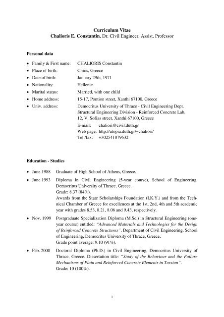 Curriculum Vitae Chalioris E Constantin Dr Civil Engineer Assist
