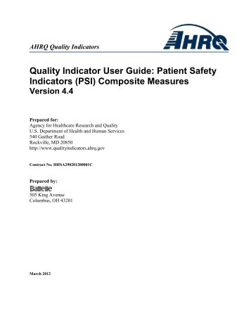 Quality Indicator User Guide: Patient Safety Indicators (PSI) Composite Measures