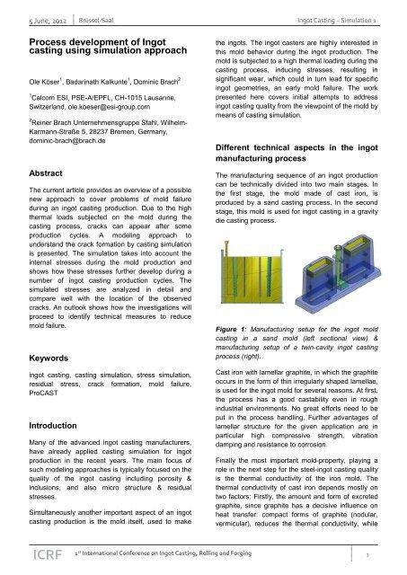 Process development of Ingot casting using simulation