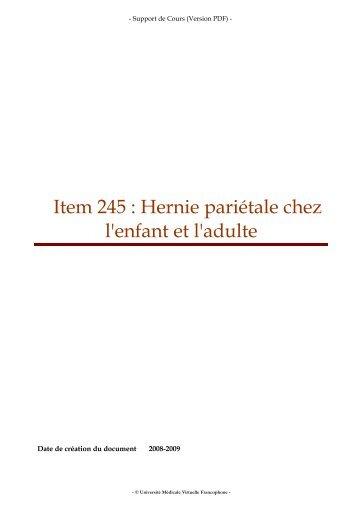 Item 245 : Hernie pariétale chez l'enfant et l'adulte
