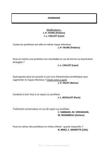 Sepsis sur prothèse pariétale - Fédération française de chirurgie ...