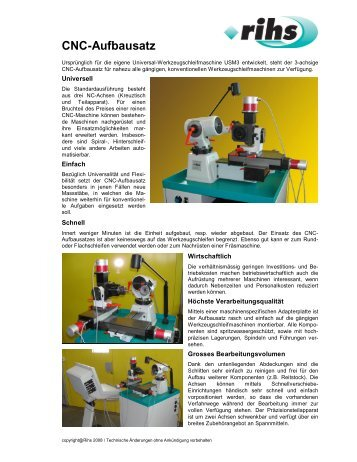 CNC-Aufbausatz - Rihs Maschinenbau AG