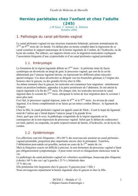 Hernies pariétales chez l'enfant et chez l'adulte (245) - Serveur ...