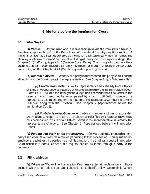 form i 485 eoir  Ch 13-Motions before the Immigration Court - AILA webCLE