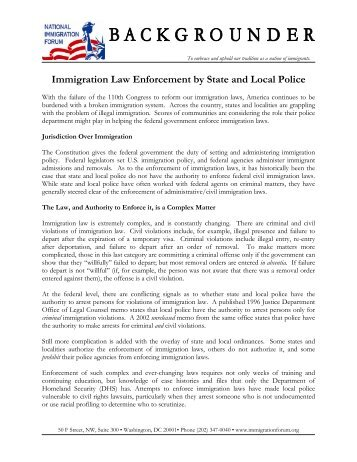 an analysis of law enforcement and immigration