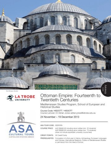 Ottoman Empire course brochure [PDF 612KB] - La Trobe University
