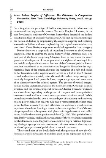 Karen Barkey. Empire of Difference: The Ottomans in Comparative ...