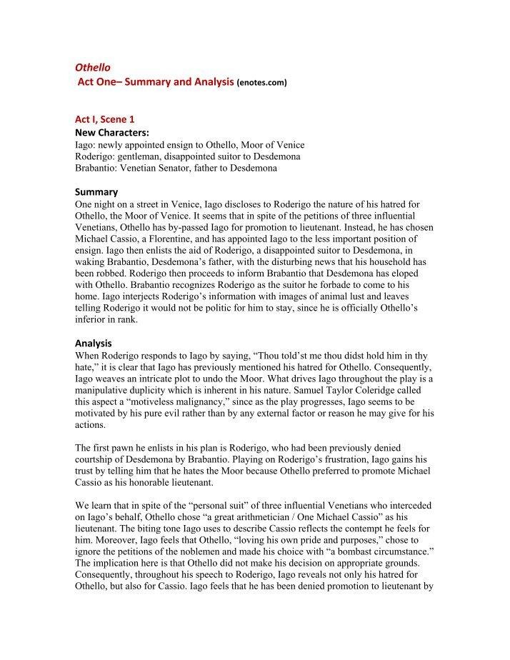 an analysis of othellos answer to desdemona