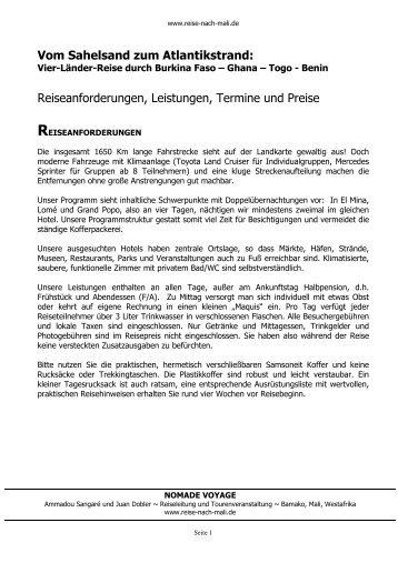 Leistungen, Termine, Preise (PDF) - Reise nach Mali - Reisen durch ...