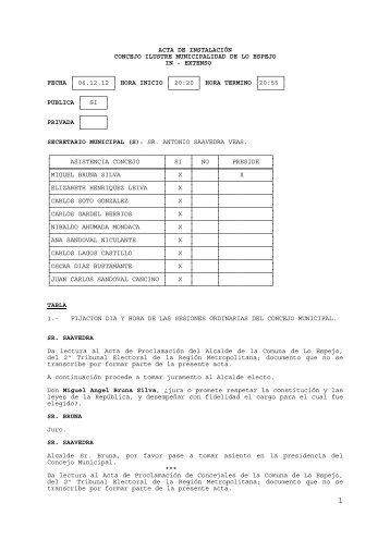 acta de instalación concejo ilustre municipalidad de lo espejo in
