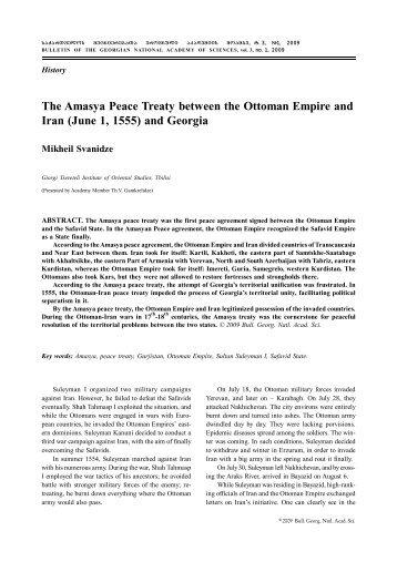 The Amasya Peace Treaty between the Ottoman Empire and Iran ...
