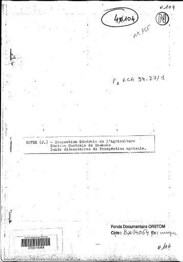 Guide élémentaire de prospection agricole - IRD