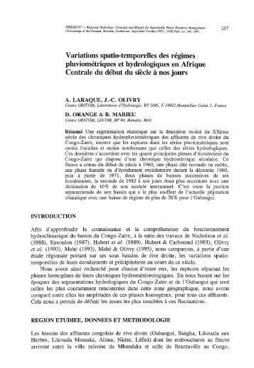 Variations spatio-temporelles des régimes pluviométriques et ... - Itia