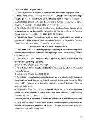 LISTA LUCRĂRILOR ŞTIINŢIFICE Articole publicate in extenso în ...